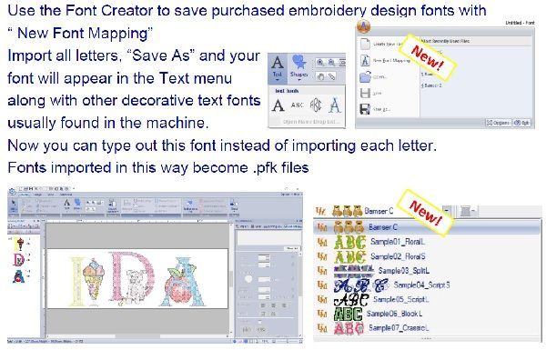 PE-Design 11 Font mapping